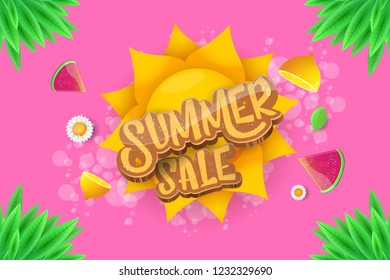 vector sammer sale horizontal creative banner with text, summer green grass, flying fresh lemons, flowers and slice of watermelon. Creative 3d summer shopping horizontal poster or label