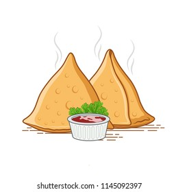 vector samosa illustration with red sauce
