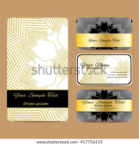 Vector Sample Cards Golden Glitter Vintage Stock Vector