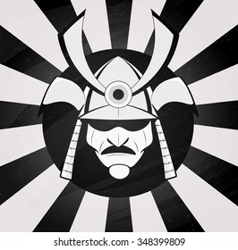 Vector samurai mask. Japanese traditional martial mask. Asia, martial arts, kendo, Japan design. Layered vector illustration for easy edit