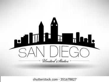 Vector San Diego Skyline Design