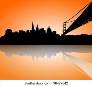 Vector the San Francisco sunset skyline panorama silhouette