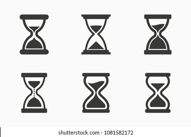 Vector sand clock icon, hour glass sign, timer symbol