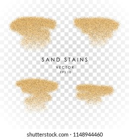 Vector sand stains isolated on transparent background.