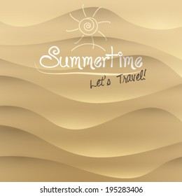 Vector sand summer travel motivational background illustration