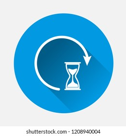 Vector Sandglass clock icon on blue background. Flat image  sandglass with long shadow. Layers grouped for easy editing illustration. For your design.