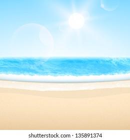 Vector sandy sea beach. Summer relax set.