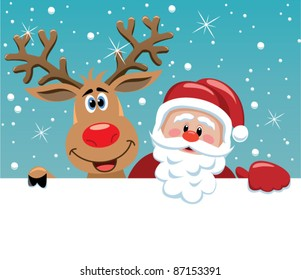 vector santa cartoon with funny santa claus and red nosed reindeer. christmas background illustration