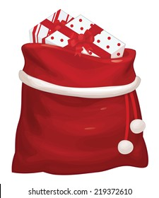 Vector Santa Claus bag with gifts isolated.