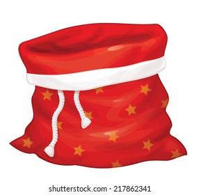 Vector Santa Claus bag isolated.