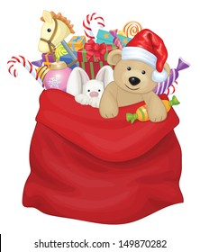 Vector Santa Claus bag with toys and gifts.