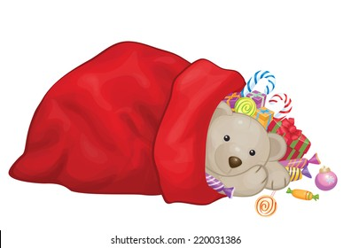 Vector Santa Claus bag with toys, gifts and sweets  isolated.