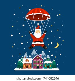 Vector Santa Claus. Santa Claus descends on a parachute on a night city.