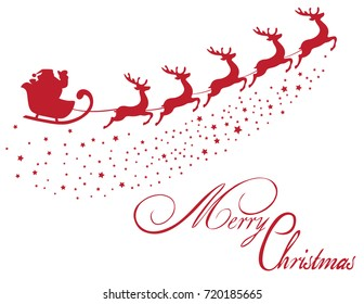 vector Santa Claus flying with reindeer Merry Christmas Background.