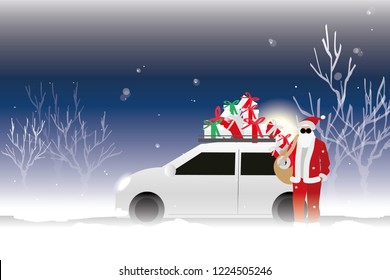 vector santa claus and his white car on winter background