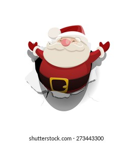 Vector Santa Claus leaned out of the hole in paper isolated on white background