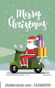 vector santa claus on a scooter merry christmas