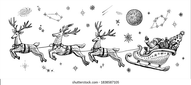 Vector Santa Claus on a sleigh with reindeers sketch vintage illustration. Holiday concept with flying Santa, what waving hand, in the night sky with stars, moon and Christmas tree.