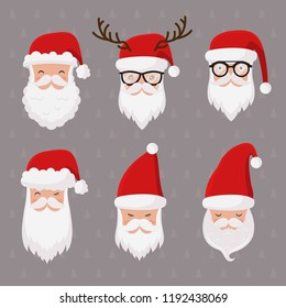 Vector Santa Claus set isolated, hat, glasses, pipe, and beard. Hipster Santa. Secret santa. Happy New Year and Christmas collection