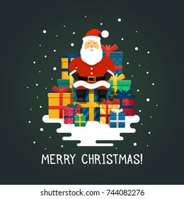 Vector Santa Claus. Santa Claus sits by boxes with gifts on a green background.