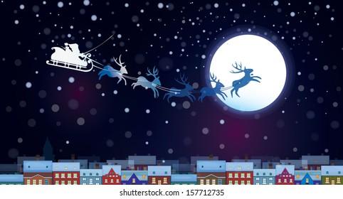 Vector Santa Claus Sleigh on sky background, cityscape nightscene.