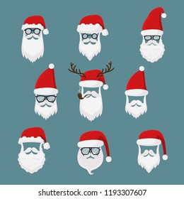 Vector Santa Claus without face big, collection, perfect for mobile apps. Santa accessories hats, moustache, horns, beards and glasses. Christmas festive design