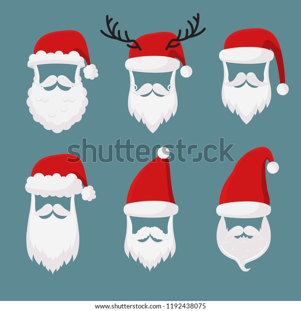 10b65298d09056 Vector Santa Claus without face big, collection, perfect for mobile apps.  Santa accessories
