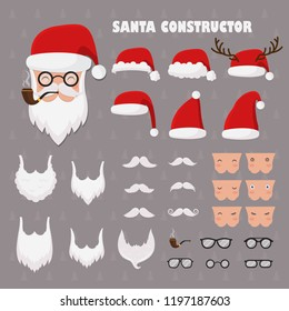 Vector santa constructor. Santa accessories hats, moustache,  beards and glasses.Create your own Santa Christmas and Happy New Year greetings cards.