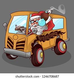 vector santa funny smoking marijuana while driving a car