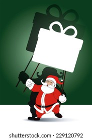 Vector of Santa holding with grand shadow play gifts box banner. Thai traditional celebrate