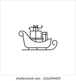 Vector Santa sleigh icon in linear style isolated on white background