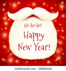 Vector Santa's beard with Happy New Year sign on red shining background