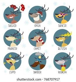 Vector Santa's Reindeers Set of Comic Characters