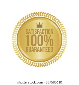 Vector Satisfaction Guaranteed Gold Sign, Round Label.
