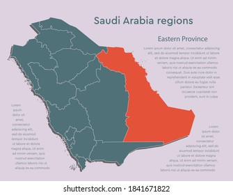 Vector Saudi Arabia map and region Eastern Province isolated on background. East country template for pattern, report, infographic, banner. Asia nation business silhouette sign concept.