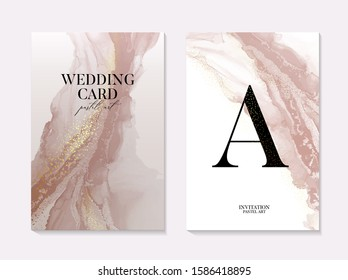 Vector save the date card in pastel beige and gold marble splashes, marble tender soft  grunge watercolor wedding texture background. Modern texture, party design, holiday invitation
