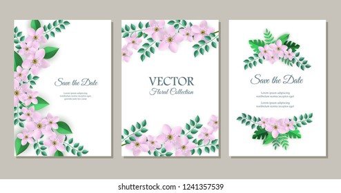 Vector save the date poster set with pink flowers with leaves pattern on white paper, elegant frame. Beautiful blooming florals for romantic decoration wedding marriage or dating card vintage design