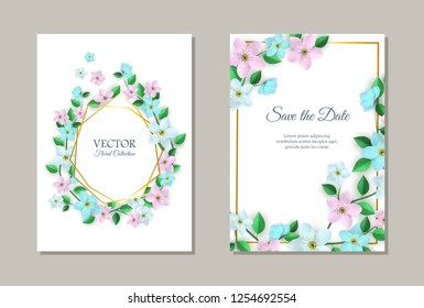 Vector save the date poster set with flowers with leaves pattern on white paper, elegant frame. Beautiful blooming florals for romantic decoration wedding marriage or dating card vintage design