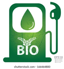 Vector : Save The Earth, Ecology or Alternative Energy Concept Present By Green Grunge Style Gasoline Icon With Bio and Leaf Sign Inside Isolated on White Background