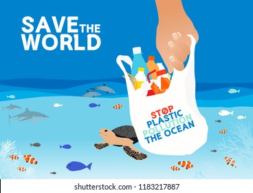Vector Save the World and Stop plastic pollution the ocean, Abstract Graphic Design Background, illustration.