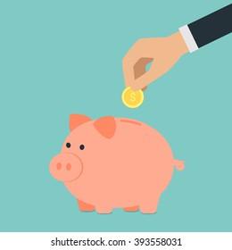 Vector saving money concept,hand put coin into piggy bank