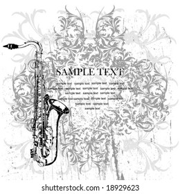 vector saxophone on a vintage background