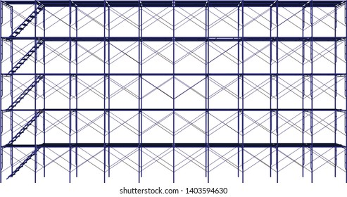 Vector of Scaffolding frame 5 floors Japanese standard type isolated on white background.  Use for construction content or scaffolding vendor.