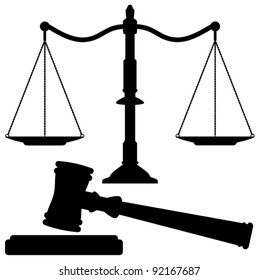 vector scales of justice and gavel