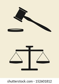 vector scales of justice and gavel icon