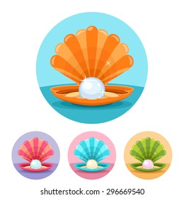 Vector scallop seashell with pearl icon set