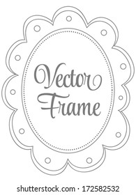 Vector Scalloped Oval Doodle Frame
