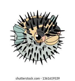 vector scandi cartoon animal clip art blowfish diodon