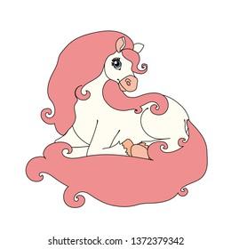 vector scandi cartoon animal clip art beauty lying horse
