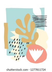 Vector scandinavian abstract paper cut collage
